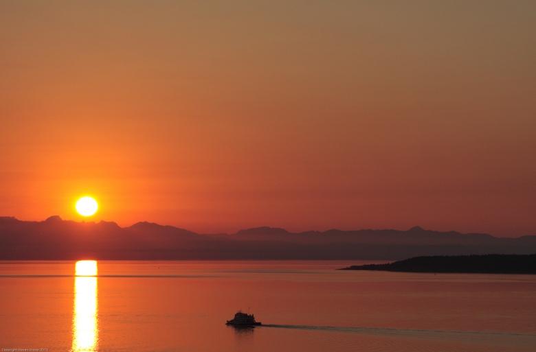 Texada Island ferry at sunset near Powell River, B.C., Canada.